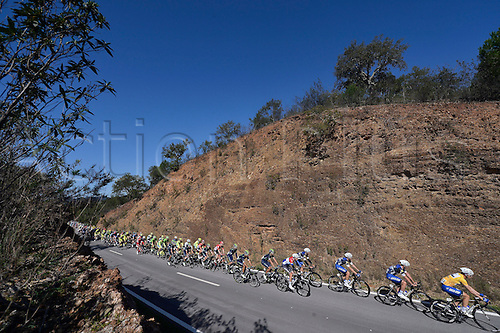 20.02.2016. Alportel, Portugal.  the peloton rides through the landscapes of the Algarve during stage 4 of the 42nd Tour of Algarve cycling race with start in S. Brss de Alportel and finish in Tavira on February 20, 2016 in Tavira, Portugal.