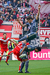 14.04.2019, Merkur Spielarena, Duesseldorf , GER, 1. FBL,  Fortuna Duesseldorf vs. FC Bayern Muenchen,<br />  <br /> DFL regulations prohibit any use of photographs as image sequences and/or quasi-video<br /> <br /> im Bild / picture shows: <br /> Javi Martinez (Bayern Muenchen #8),   Dawid Kownacki (Fortuna Duesseldorf #27),  <br /> <br /> Foto &copy; nordphoto / Meuter