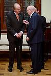 """King Juan Carlos and Aurelio Menendez during the """"Premio de Economía Rey Juan Carlos"""" to Jose Luis Garcia Delgado at Banco de España in Madrid. November 17, Spain. 2016. (ALTERPHOTOS/BorjaB.Hojas)"""