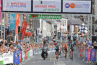 """Race winner Tom Stewart (r) of the Madison Genesis team crossing the finishing line during the Abergavenny Festival of Cycling """"Grand Prix of Wales"""" race on Sunday 17th 2016<br /> <br /> <br /> Jeff Thomas Photography -  www.jaypics.photoshelter.com - <br /> e-mail swansea1001@hotmail.co.uk -<br /> Mob: 07837 386244 -"""