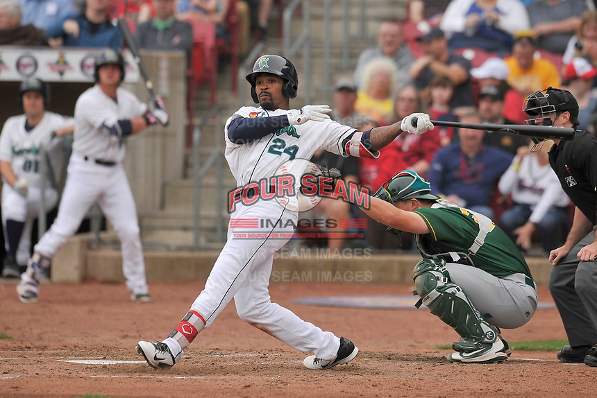 Cedar Rapids Kernels right fielder Jaylin Davis (24) in action during a game against the Beloit Snappers at Veterans Memorial Stadium on April 8, 2017 in Cedar Rapids, Iowa.  The Snappers won 7-6.  (Dennis Hubbard/Four Seam Images)