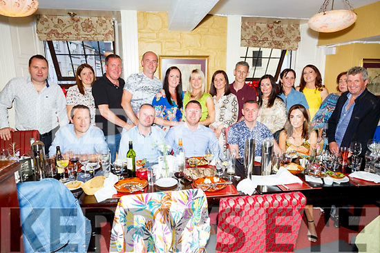 Johnny McCarthy (seated 4th from left) from the Spa, Fenit celebrating his 40th birthday in the Brogue Inn on Saturday night.