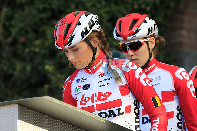 Puck Moonen (NED) Lotto-Soudal Ladies at sign on before the Strade Bianche Women Elite 2019 running 133km from Siena to Siena, held over the white gravel roads of Tuscany, Italy. 9th March 2019.<br /> Picture: Eoin Clarke | Cyclefile<br /> <br /> <br /> All photos usage must carry mandatory copyright credit (© Cyclefile | Eoin Clarke)