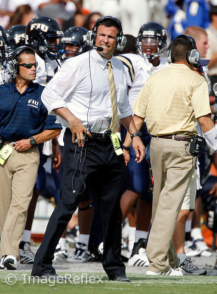 15 September 2007: Florida International University Head Coach Mario Cristobal during the game against the University of Miami in Miami's 23-9 victory at the Orange Bowl Stadium, Miami, Florida..
