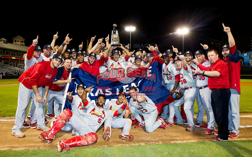 The Springfield Cardinals pose for a photo after game 3 of the Texas League Championship Series against the Frisco RoughRiders at Dr. Pepper BallPark on September 15, 2012 in Frisco, TX.  The Cardinals became the 2012 Texas League Champions after defeating the RoughRiders 2-1. (David Welker/Four Seam Images)