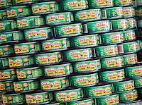 Chicken of the Sea chunk light tuna in the 23rd annual Canstruction Design Competition in New York, seen on Friday, November 6, 2015, on display in Brookfield Place in Lower Manhattan. Architecture and design firm participate to design and build giant structures made from cans of food.  The cans are donated to City Harvest at the close of the exhibit. Over 100,000 cans of food were collected and will be used to feed the needy at 500 soup kitchens and food pantries. (© Richard B. Levine)