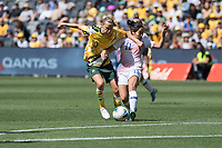 9th November 2019; Bankwest Stadium, Parramatta, New South Wales, Australia; International Womens Friendly Football, Australia versus Chile; Lydia Williams of Australia attempts to hold off Yessenia Lopez of Chile - Editorial Use