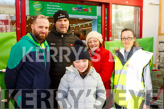 Thomas O'Regan (Ballymac), William Coffer (Castleisland), Cait Daly (Castleisland), Pat Daly (Ballymac) and Hanna O'Connor (Ballymac) attending the Garvey Supervalu store in Castleisland on their Operation Transformation walk on Saturday morning last