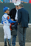Jockey Joel Rosario talking with owner and trainer D. Wayne Lukas after the running of the Southwest Stakes (Grade III) at Oaklawn Park in Hot Springs, Arkansas on February 17, 2014. (Credit Image: © Justin Manning/Eclipse/ZUMAPRESS.com)