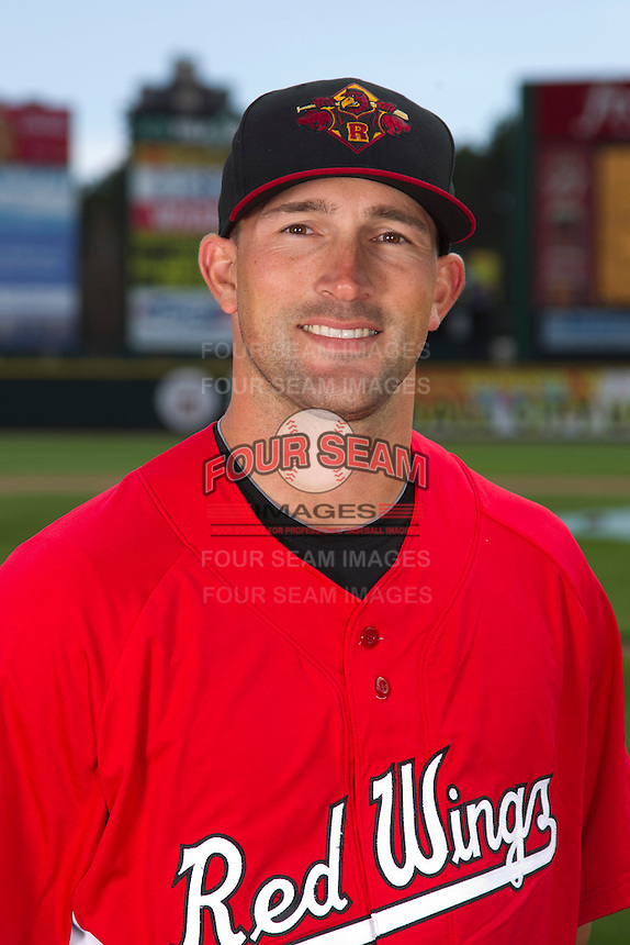 Rochester Red Wings infielder Brian Dinkelman #12 poses for a photo during media day at Frontier Field on April 3, 2012 in Rochester, New York.  (Mike Janes/Four Seam Images)