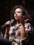 "Sasha Hollinger on stage during The Rockefeller Foundation and The Gilder Lehrman Institute of American History sponsored High School student #eduHam matinee performance of ""Hamilton"" Q & A at the Richard Rodgers Theatre on November 7, 2018 in New York City."