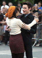 August 11, 2012 Chris Colfer, Lea Michele, shooting on location for  Glee at Washington Square in New York City.Credit:© RW/MediaPunch Inc. /NortePHOTO.com