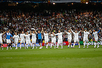 Real Madrid´s players celebrating after win the UEFA Champions League match between Real Madrid and Manchester City at the Santiago Bernabeu Stadium in Madrid, Wednesday, May 4, 2016.