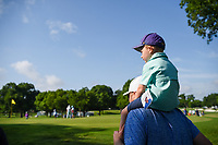 A young fan sits atop his father's shoulders near the green on 2 during round 3 of the 2019 Charles Schwab Challenge, Colonial Country Club, Ft. Worth, Texas,  USA. 5/25/2019.<br /> Picture: Golffile | Ken Murray<br /> <br /> All photo usage must carry mandatory copyright credit (© Golffile | Ken Murray)