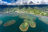 An aerial view of Kane'ohe Bay and the Ko'olau Mountains at Kahalu'u, O'ahu.