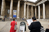 Tourists outside the British Museum.