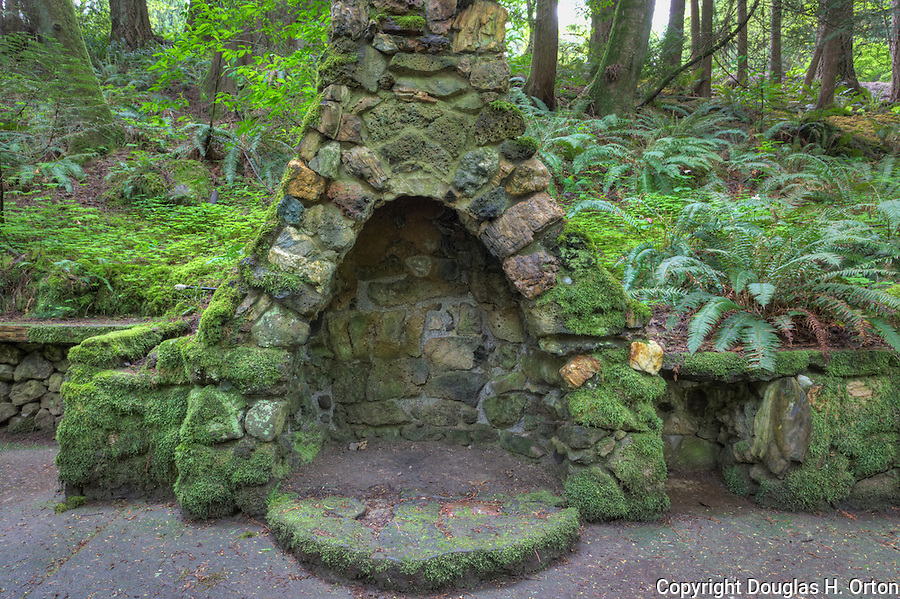 "Rock fireplace at ""Portland's Secret Garden"",  Leach Garden was established by JOhn and Lilla Leach in the 1930's.  The Garden continues as a public place of respite and native northewest botanical display.  Operated by the city of Portland, Oregon.."