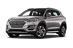 Stock pictures of low aggressive front three quarter view of a 2019 Hyundai Tucson Shine 5 Door SUV
