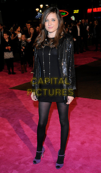 "MADELINE DUGGAN .Attending the UK Film Premiere of ""St. Trinian's 2: The Legend Of Fritton's Gold"" at Empire Leicester Square, London,  England, UK, December 9th 2009..Trinians St arrivals full length black sequined sequin dress tights purple peep toe shoes mary janes shoulder pads necklace .CAP/FIN.©Steve Finn/Capital Pictures."