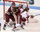 Alex Carpenter (BC - 5), Jillian Dempsey (Harvard - 14) - The Boston College Eagles defeated the Harvard University Crimson 2-1 in the opening game of the 2013 Beanpot on Tuesday, February 5, 2013, at Matthews Arena in Boston, Massachusetts.