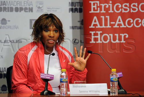 09 05 2010   Madrid. Serena Williams of United States Attends A Press Conference Ahead of The Madrid WTA Tennis Open in Madrid Spain