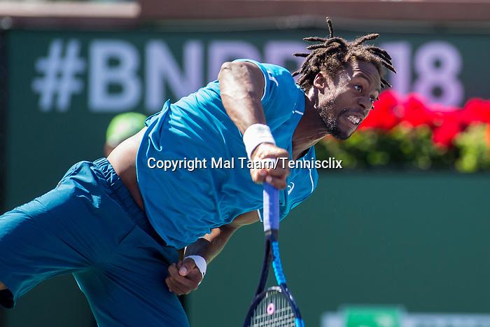 March 11, 2018: Gael Monfils (FRA) defeated John Isner (USA) 6-7, 7-6, 7-5 at the BNP Paribas Open played at the Indian Wells Tennis Garden in Indian Wells, California. ©Mal Taam/TennisClix/CSM