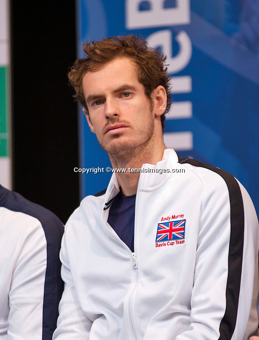 Gent, Belgium, November 26, 2015, Davis Cup Final, Belgium-Great Britain, draw ceremonie, Andy Murray (GRB)<br /> Photo: Tennisimages/Henk Koster
