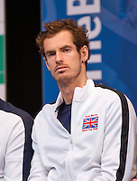 Gent, Belgium, November 26, 2015, Davis Cup Final, Belgium-Great Britain, draw ceremonie, Andy Murray (GRB)<br /> Photo: Tennisimages/Henk Koster