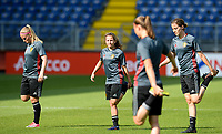 20170719 - BREDA , NETHERLANDS :  Belgian Jana Coryn (left) , Davina Philtjens (middle) and Imke Courtois (r)  pictured during Matchday -1 training session of the Belgian national women's soccer team Red Flames on the pitch of NAC BREDA , on wednesday 19 July 2017 in stadion Rat Verlegh in Breda . The Red Flames are at the Women's European Championship 2017 in the Netherlands. PHOTO SPORTPIX.BE | DAVID CATRY
