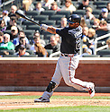 JUAN FRANCISCO, of the Atlanta Braves, in action during the Braves game against the New York Mets on April 7, 2012 at Citi Field in Corona, NY. The Mets beat the Braves 4-2.
