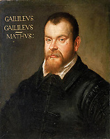 """Galileo Galilei pianting by Domenico Robusti in 1605<br /> <br /> Galileo Galilei , 15 February 1564 – 8 January 1642), was an Italian physicist, mathematician, astronomer, and philosopher who played a major role in the Scientific Revolution. His achievements include improvements to the telescope and consequent astronomical observations and support for Copernicanism. Galileo has been called the """"father of modern observational astronomy"""", the """"father of modern physics"""",the """"father of science"""",and """"the Father of Modern Science""""."""