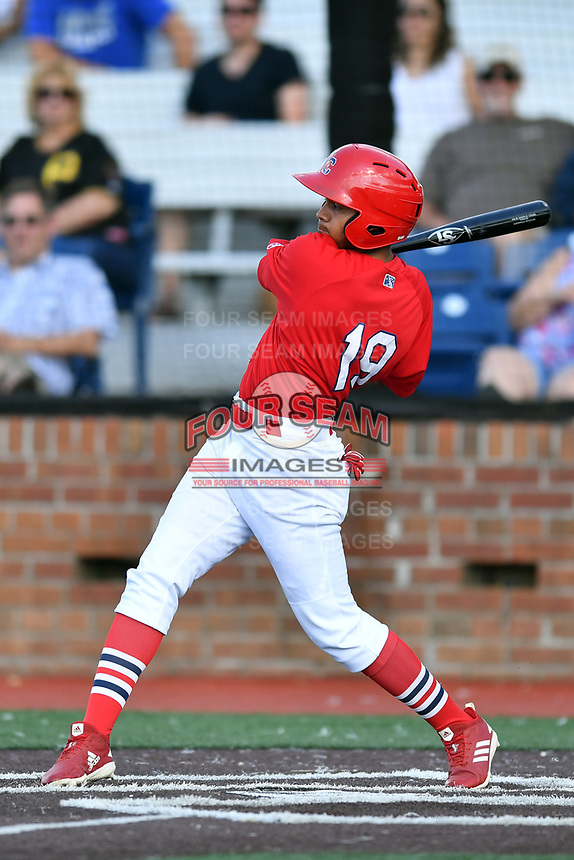 Johnson City Cardinals Diomedes Del Rio (19) swings at a pitch during game three of the Appalachian League, West Division Playoffs against the Bristol Pirates at TVA Credit Union Ballpark on September 1, 2019 in Johnson City, Tennessee. The Cardinals defeated the Pirates 7-5 to win the series 2-1. (Tony Farlow/Four Seam Images)