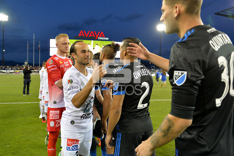San Jose, CA - Saturday March 24, 2018: Landon Donovan, Yeferson Quintana during an international friendly between the San Jose Earthquakes and Club Leon FC at Avaya Stadium.