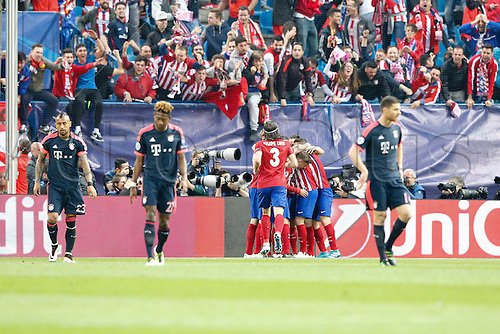 27.04.2016. Madrid, Spain.  Saul Niguez Esclapez (17) Atletico Madrid's player celebrates after scoring his team´s goal. UEFA Champions League Champions League between Atletico de Madrid and Bayern Munich at the Vicente Calderon stadium in Madrid, Spain, April 27, 2016 .