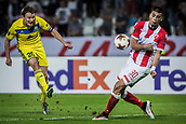 14th September 2017, Red Star Stadium, Belgrade, Serbia; UEFA Europa League Group stage, Red Star Belgrade versus BATE; Forward Vitali Rodionov of FC BATE Borisov shoots on the goal past the attamepted block from Vujadin Savić