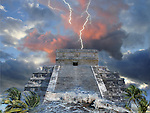 Surrealistic photo-illustration with a pyramid, flood waters and lighting storm. This image was inspired by Maya 2012 prophecy of the end of the era.