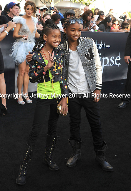 """LOS ANGELES, CA. - June 24: Willow Smith and Jaden Smith arrive to the premiere of """"The Twilight Saga: Eclipse"""" during the 2010 Los Angeles Film Festival at Nokia Theatre L.A. Live on June 24, 2010 in Los Angeles, California."""