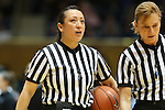11 February 2013: Referees Cameron Inouye (left) and Dee Kantner (right). The Duke University Blue Devils played the University of Maryland Terrapins at Cameron Indoor Stadium in Durham, North Carolina in an NCAA Division I Women's Basketball game. Duke won the game 71-56.