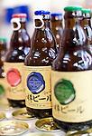 Photo shows bottles of weiss, pilsner and dunkel types of beer brewed by Otaru Beer.