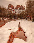 Winter at Cathedral Rock ©2019 James D Peterson.  After the biggest snowstorm in over a decade, the red rocks along Sedona's Oak Creek adopted a distinctly different hue.
