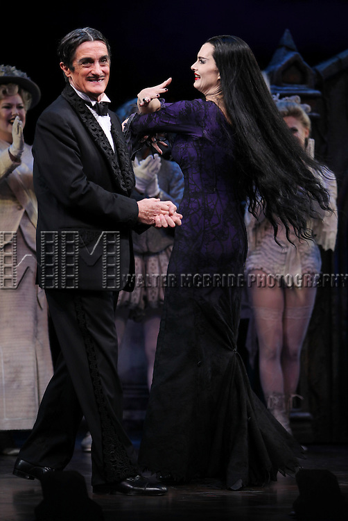 Brooke Shields as Morticia Addams & Roger Rees.at the Curtain Call for her debut in 'The Addams Family' at the Lunt-Fontanne Theatre  in New York City.
