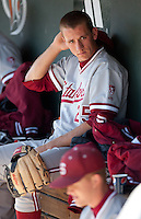 STOCKTON, CA - May 9, 2011: Stephen Piscotty of Stanford baseball sits in the dugout before Stanford's game against Pacific at Klein Family Field in Stockton. Stanford won 11-5.