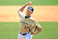 22 April 2012:  FIU pitcher Eddy Pidermann (39) pitches in relief as the University of Arkansas Little Rock Trojans defeated the FIU Golden Panthers, 7-6, at University Park Stadium in Miami, Florida.