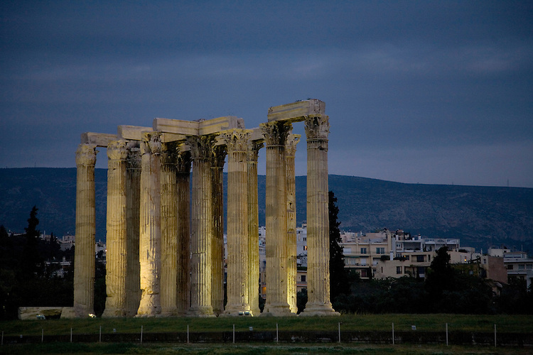Corinthian columns tower 56 feet high at the Temple of Olympian Zeus completed in 131 A.D. by Roman emperor Hadrian.