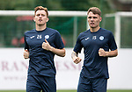 FK Trakai v St Johnstone…05.07.17… Europa League 1st Qualifying Round 2nd Leg<br />St Johnstone training at the LFF Stadium in Vilnius, Lithuania….Pictured Liam Craig during the training session with Jason Kerr<br />Picture by Graeme Hart.<br />Copyright Perthshire Picture Agency<br />Tel: 01738 623350  Mobile: 07990 594431