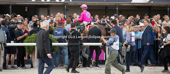 January 25, 2020: #1 Zulu Alpha with jockey Tyler Gaffalione after winning the Pegasus World Cup Turf Invitational GI during the Pegasus World Cup Invitational at Gulfstream Park Race Track in Hallandale Beach, Florida. Liz Lamont/Eclipse Sportswire/CSM