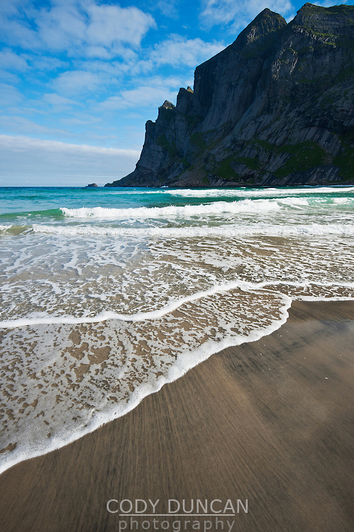 Incoming waves of Bunes beach, Moskenesoy, Lofoten islands, Norway