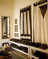 The striking curtains in this dressing room are made from Indian hand-loomed cotton shawls