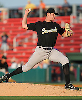 July 2, 2008: RHP Scott Moviel (34) of the Savannah Sand Gnats, Class A affiliate of the New York Mets, in a game against the Greenville Drive at Fluor Field at the West End in Greenville, S.C. Photo by:  Tom Priddy/Four Seam Images