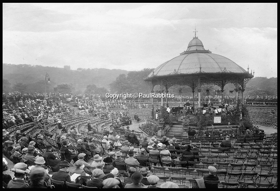 BNPS.co.uk (01202 558833)<br /> Pic: PaulRabbitts/BNPS<br /> <br /> ***Please Use Full Byline***<br /> <br /> The bandstand in Corporation Park, Blackburn. Lost, date unknown.<br /> <br /> A landscape gardener is trumpeting the great British creation of the bandstand after touring the country's parks to study the iconic structures for a new book.<br /> <br /> Paul Rabbitts' work is a celebration of the Victorian platforms and a throwback to the halycon days of outdoor music when thousands of people would gather in public parks for a brass band performance.